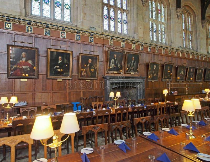 Τραπεζαρία κολλεγίων Πανεπιστημίου της Οξφόρδης στοκ εικόνα