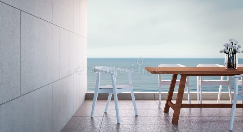 Τραπεζαρία παραλιών - η άποψη θάλασσας/τρισδιάστατος δίνει στοκ εικόνες