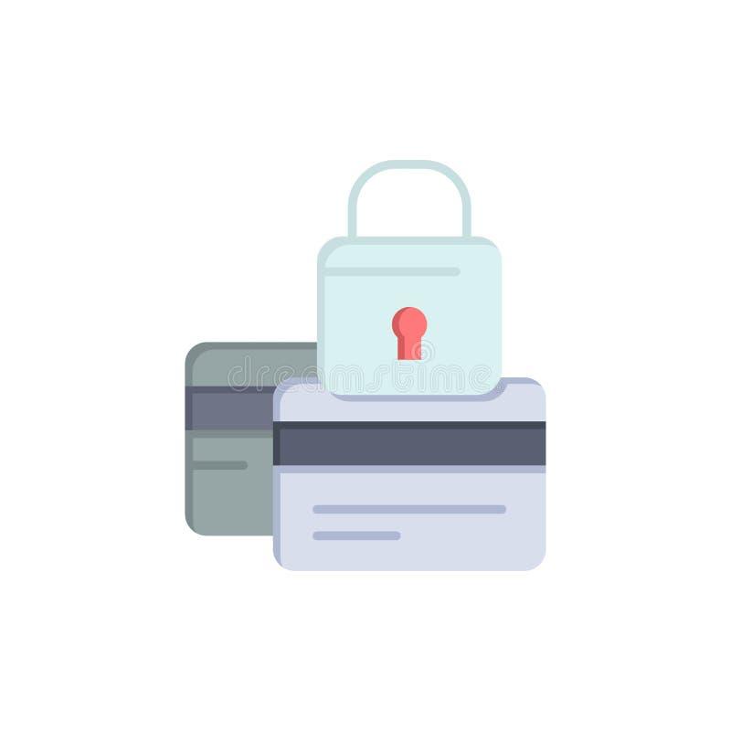 Τραπεζικές εργασίες, κάρτα, πίστωση, πληρωμή, ασφαλής, επίπεδο εικονίδιο χρώματος ασφάλειας Διανυσματικό πρότυπο εμβλημάτων εικον ελεύθερη απεικόνιση δικαιώματος