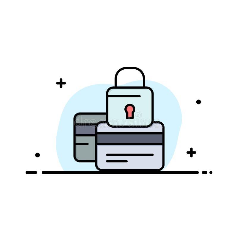 Τραπεζικές εργασίες, κάρτα, πίστωση, πληρωμή, ασφαλής, πρότυπο επιχειρησιακών λογότυπων ασφάλειας Επίπεδο χρώμα διανυσματική απεικόνιση