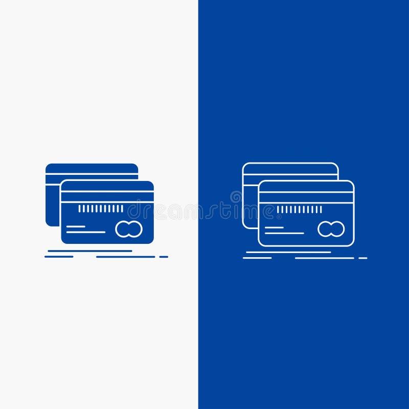 Τραπεζικές εργασίες, κάρτα, πίστωση, χρέωση, γραμμή χρηματοδότησης και κουμπί Ιστού Glyph στο μπλε κάθετο έμβλημα χρώματος για UI απεικόνιση αποθεμάτων