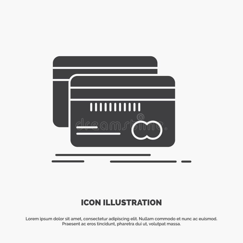 Τραπεζικές εργασίες, κάρτα, πίστωση, χρέωση, εικονίδιο χρηματοδότησης glyph διανυσματικό γκρίζο σύμβολο για UI και UX, τον ιστοχώ ελεύθερη απεικόνιση δικαιώματος
