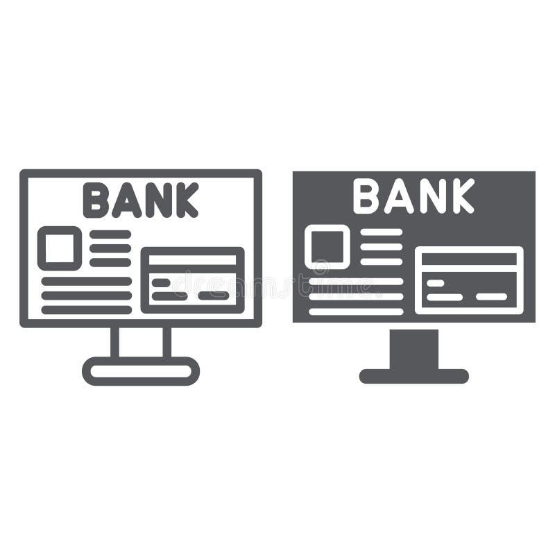 Τραπεζική γραμμή Διαδικτύου και glyph εικονίδιο, χρηματοδότηση και πληρωμή, σε απευθείας σύνδεση σημάδι χρηματοδότησης, διανυσματ ελεύθερη απεικόνιση δικαιώματος