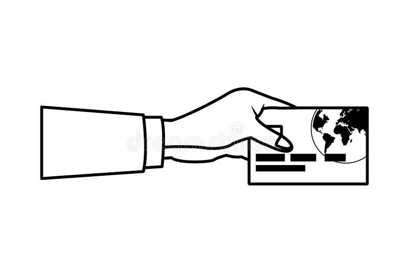 Τραπεζική κάρτα με το χέρι διανυσματική απεικόνιση