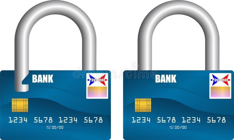 Τραπεζική κάρτα που ξεκλειδώνεται και που κλειδώνεται διανυσματική απεικόνιση