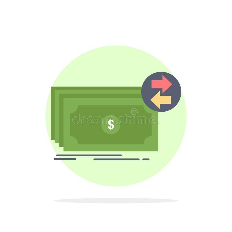 Τραπεζογραμμάτια, μετρητά, δολάρια, ροή, επίπεδο διάνυσμα εικονιδίων χρώματος χρημάτων απεικόνιση αποθεμάτων
