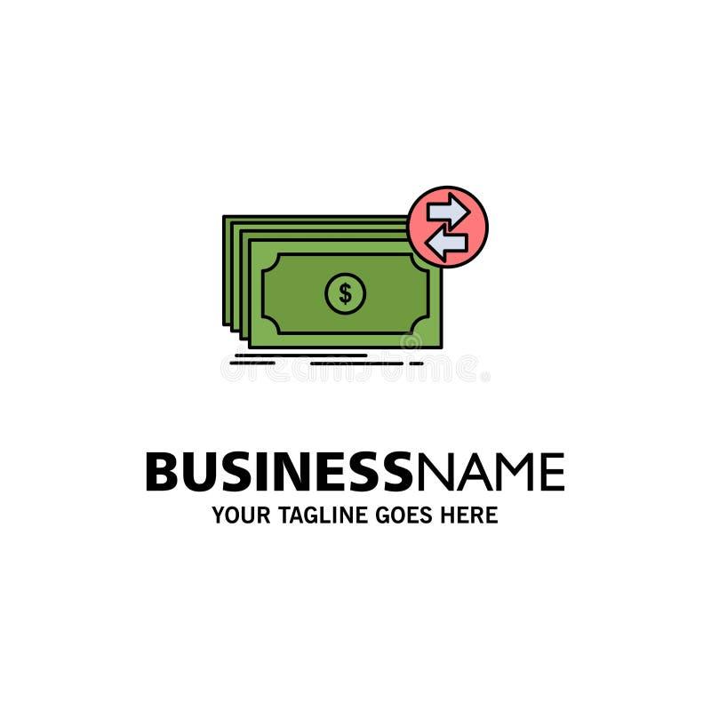 Τραπεζογραμμάτια, μετρητά, δολάρια, ροή, επίπεδο διάνυσμα εικονιδίων χρώματος χρημάτων διανυσματική απεικόνιση