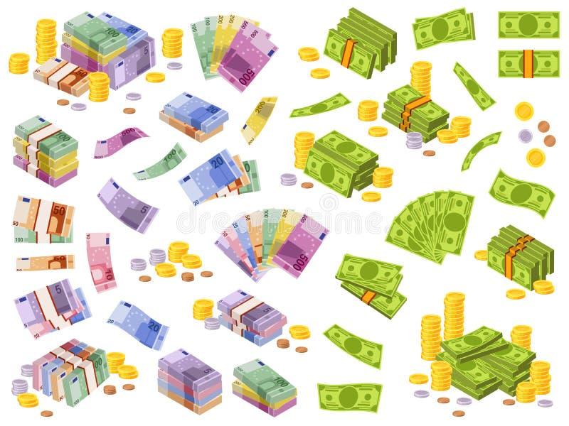 Τραπεζογραμμάτια σε δολάρια και ευρώ Ισομετρικά μετρητά, διάφορα νομίσματα δολάρια και πακέτα και κέρματα 3δ απεικόνιση αποθεμάτων