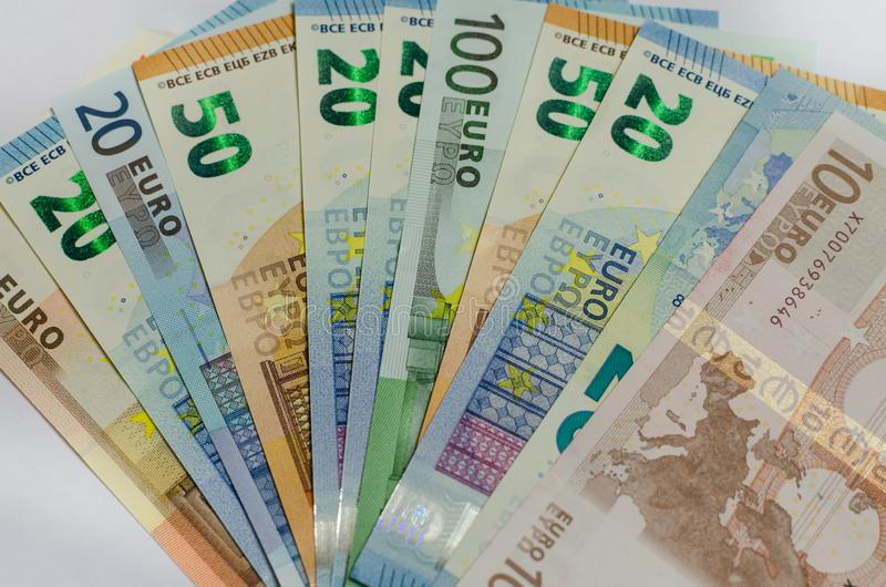 Τραπεζογραμμάτια χρημάτων Evro στοκ εικόνα