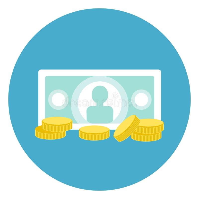 Τραπεζογραμμάτιο εικονιδίων χρημάτων με το κουμπί Ιστού νομισμάτων στο στρογγυλό μπλε υπόβαθρο απεικόνιση αποθεμάτων