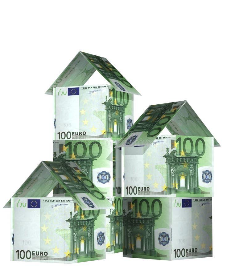 τραπεζογραμματίων σπίτια που απομονώνονται ευρο- πέρα από το λευκό διανυσματική απεικόνιση