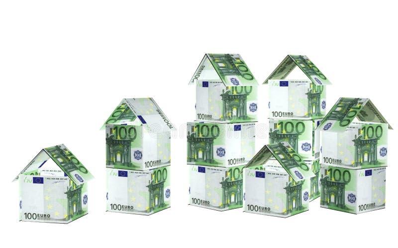τραπεζογραμματίων σπίτια που απομονώνονται ευρο- πέρα από το λευκό ελεύθερη απεικόνιση δικαιώματος