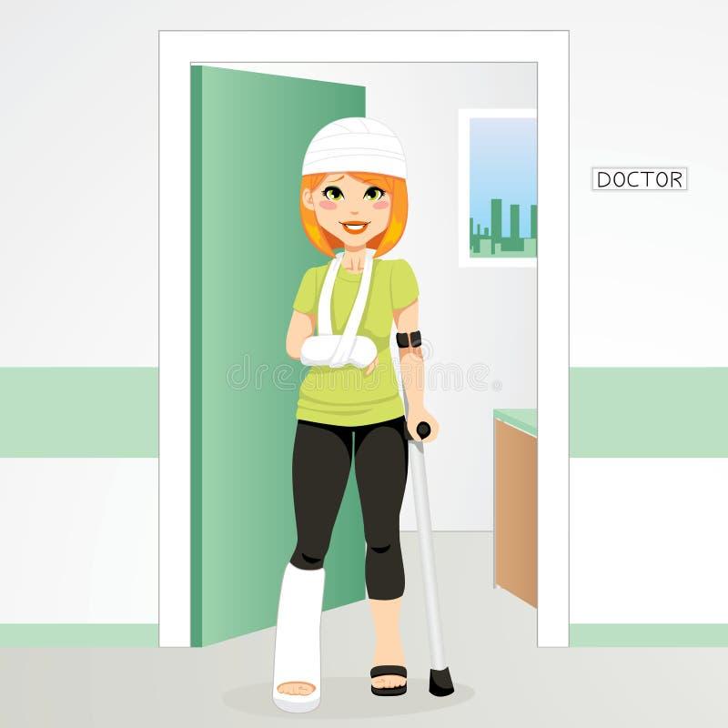 τραυματισμένη redhair γυναίκα διανυσματική απεικόνιση