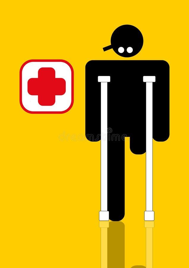 τραυματισμένος ανάπηρος εργαζόμενος απεικόνιση αποθεμάτων
