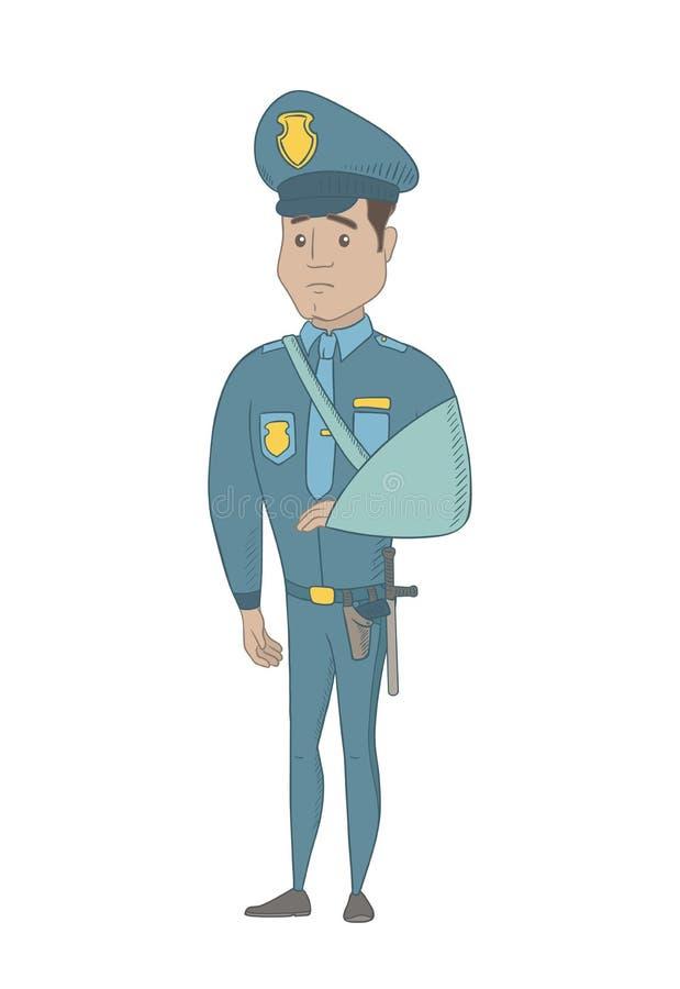 Τραυματισμένος νέος ισπανικός αστυνομικός με το σπασμένο βραχίονα διανυσματική απεικόνιση
