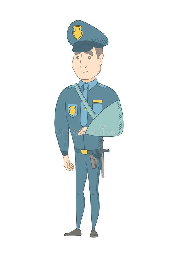 Τραυματισμένος νέος καυκάσιος αστυνομικός με το σπασμένο βραχίονα απεικόνιση αποθεμάτων