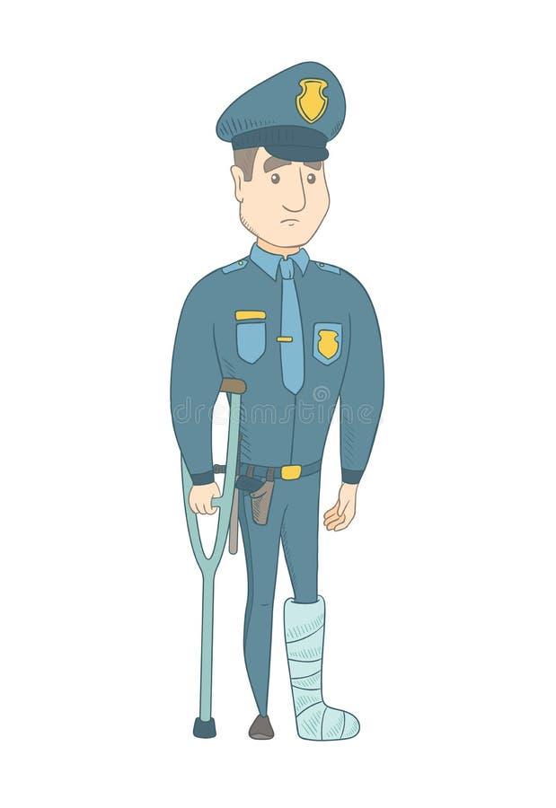 Τραυματισμένος νέος καυκάσιος αστυνομικός με το σπασμένο πόδι απεικόνιση αποθεμάτων