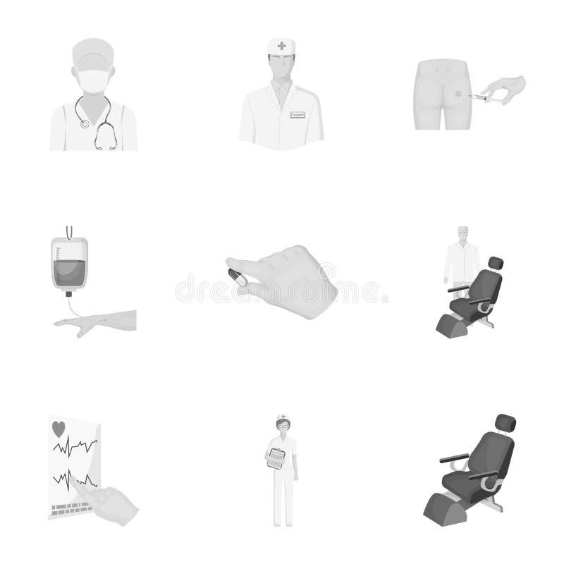 Τραυματισμένος σε έναν περιπατητή, μετάγγιση αίματος, δοκιμή ζάχαρης αίματος, γιατρός, ιατρικό προσωπικό Καθορισμένα εικονίδια συ ελεύθερη απεικόνιση δικαιώματος