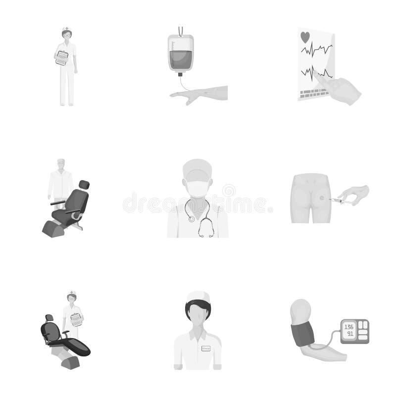 Τραυματισμένος σε έναν περιπατητή, μετάγγιση αίματος, δοκιμή ζάχαρης αίματος, γιατρός, ιατρικό προσωπικό Καθορισμένα εικονίδια συ απεικόνιση αποθεμάτων
