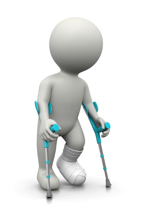 Τραυματισμένος τρισδιάστατος χαρακτήρας με τα δεκανίκια απεικόνιση αποθεμάτων