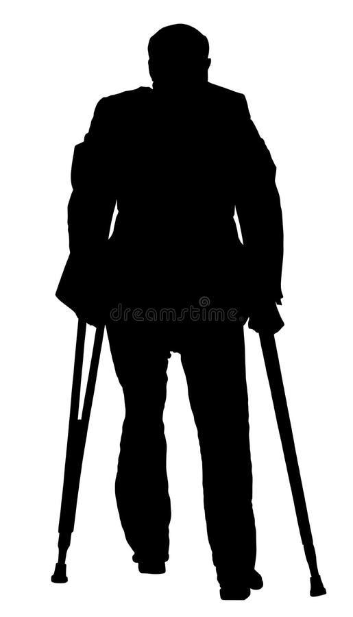 Τραυματισμένο άτομο με τη διανυσματική σκιαγραφία δεκανικιών Πρεσβύτερος δραστηριότητας αποκατάστασης ελεύθερη απεικόνιση δικαιώματος