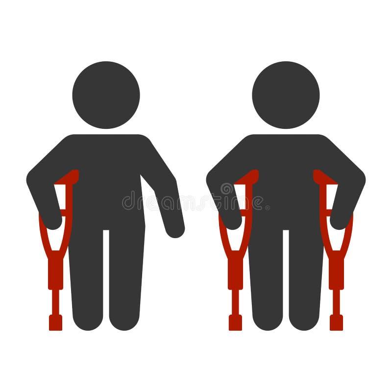 Τραυματισμένο άτομο με το σύνολο εικονιδίων δεκανικιών διάνυσμα απεικόνιση αποθεμάτων