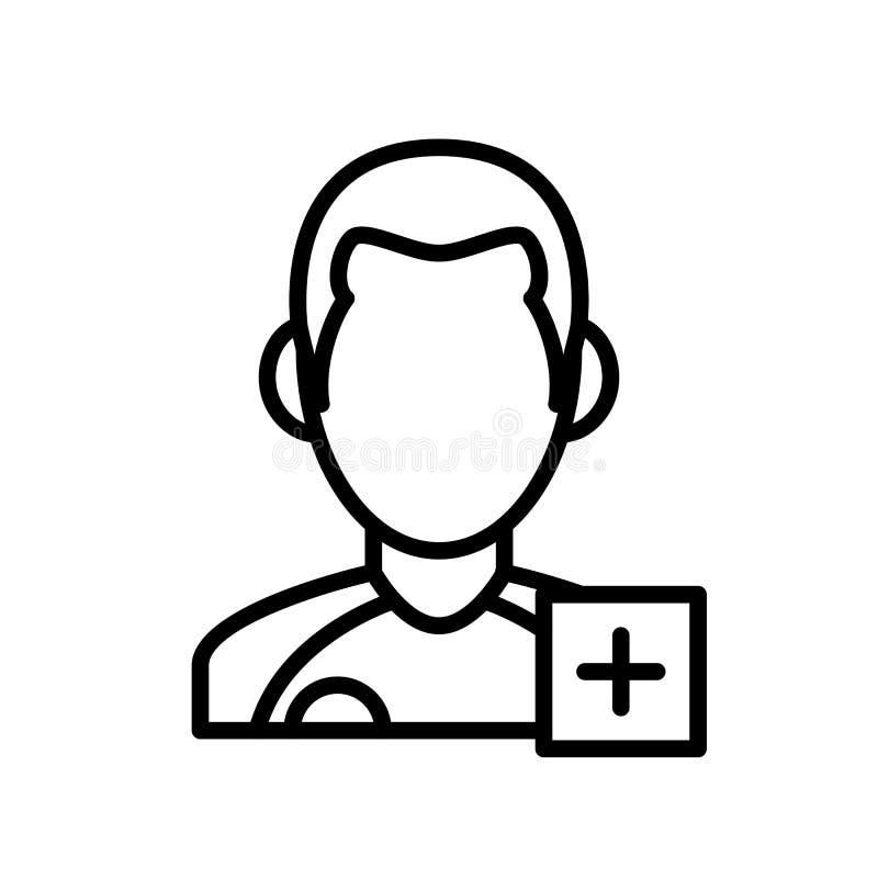 Τραυματισμένο εικονίδιο φορέων άτομο με συν το σημάδι απλό αθλητικό σύμβολο ύφους περιλήψεων απεικόνισης διανυσματική απεικόνιση