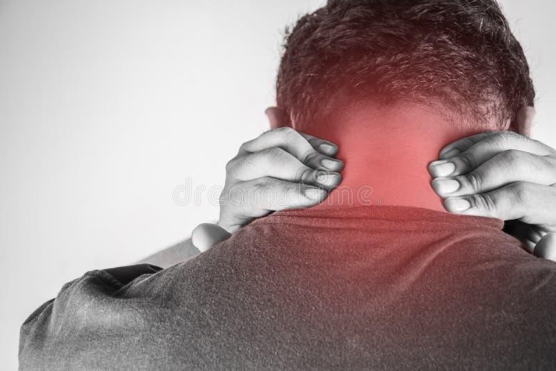 Τραυματισμός αυχένων στους ανθρώπους πόνος αυχένων, κοινό πόνων κυριώτερο σημείο τόνου ανθρώπων ιατρικό, μονο στον αυχένα στοκ φωτογραφίες