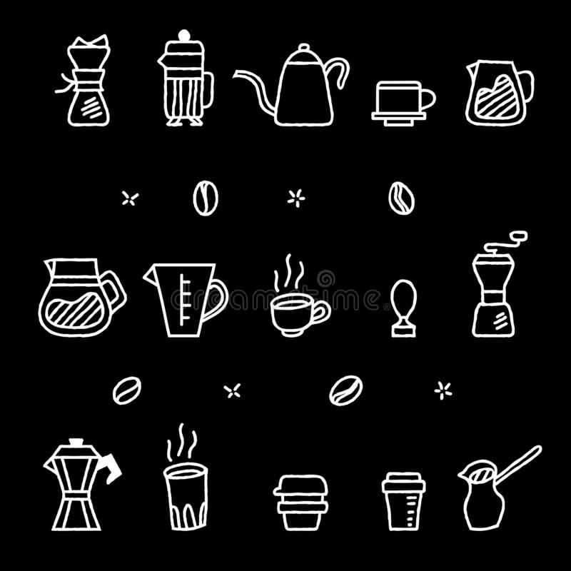 Τραχιά περιλήψεων γραφική συλλογή εργαλείων ζυθοποιών καφέ χειρωνακτική απεικόνιση αποθεμάτων