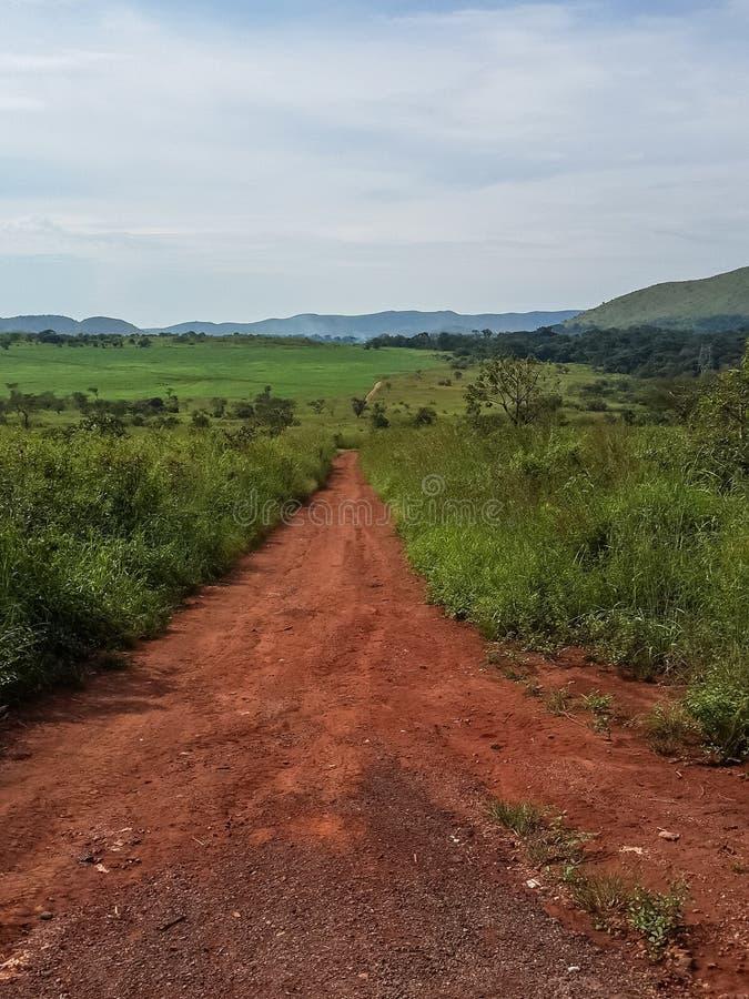 Τραχύς και στενός κόκκινος βρώμικος δρόμος που οδηγεί μέσω του πράσινου και ορεινού τοπίου της αγροτικής Ανγκόλα, Αφρική στοκ φωτογραφίες
