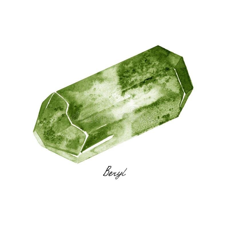 Τραχύς πολύτιμος λίθος της Beryl Watercolor πράσινος tumblestones που απομονώνεται σε ένα άσπρο υπόβαθρο στοκ εικόνες με δικαίωμα ελεύθερης χρήσης