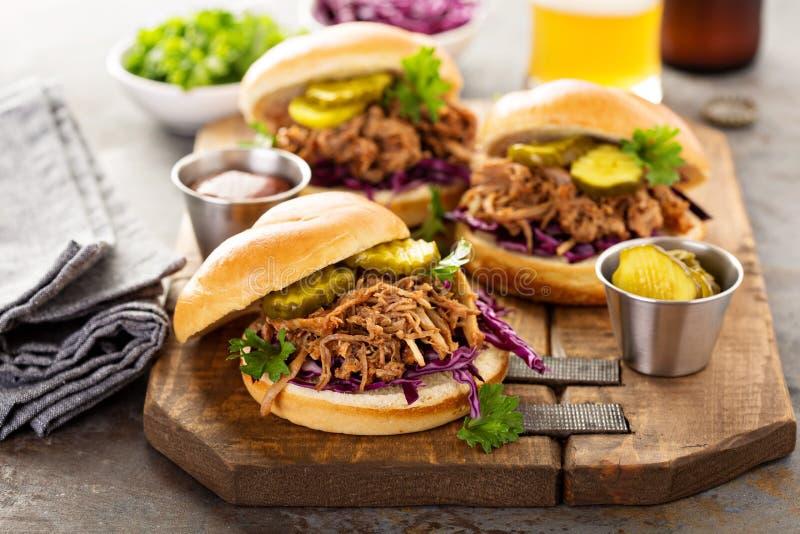 Τργμένα σάντουιτς χοιρινού κρέατος με το λάχανο και τα τουρσιά στοκ εικόνες με δικαίωμα ελεύθερης χρήσης