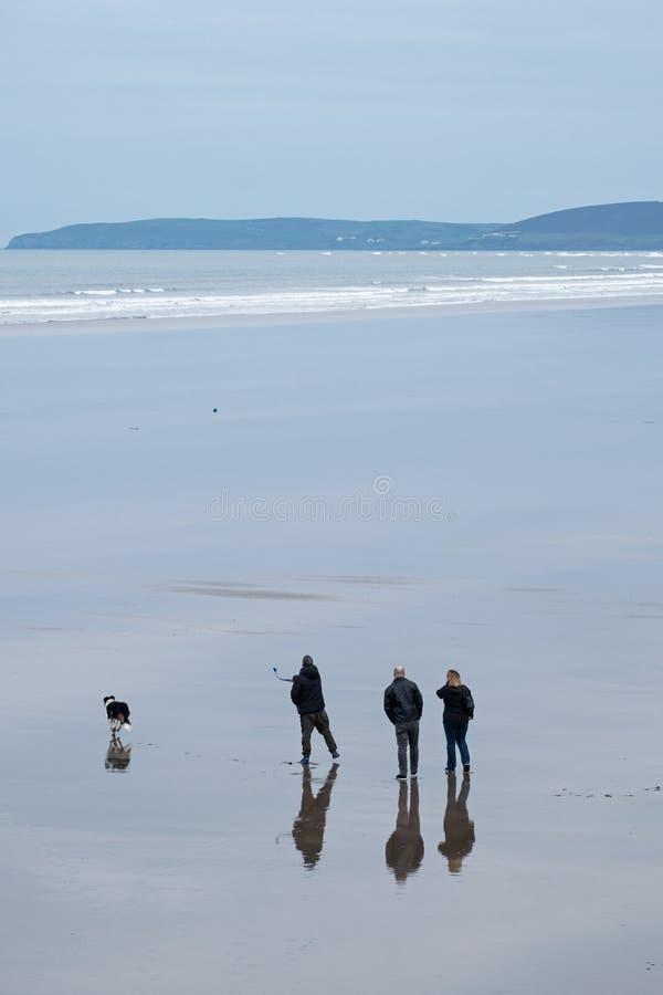 Τρεις άνθρωποι και ένα σκυλί σε μια εγκαταλειμμένη παραλία στοκ εικόνες