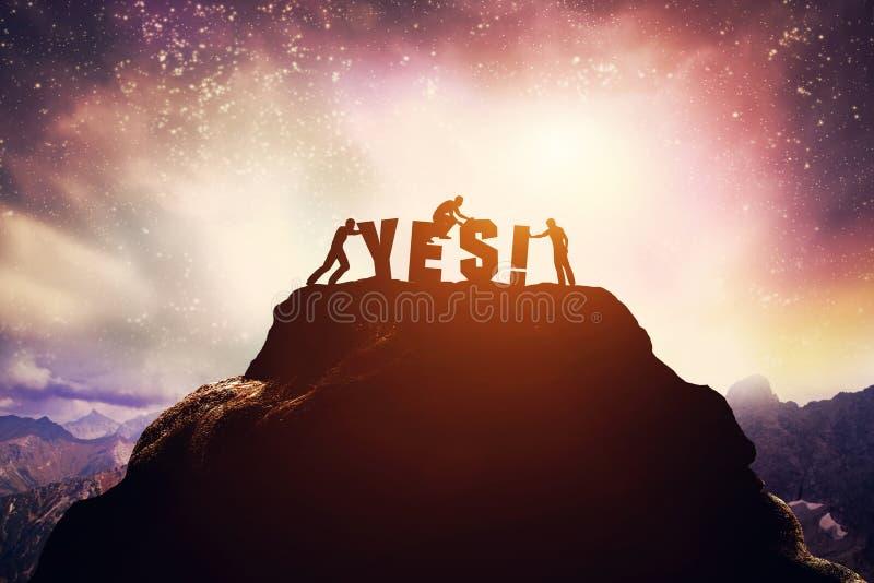Τρεις άνθρωποι και ΝΑΙ γράψιμο στο βουνό διανυσματική απεικόνιση