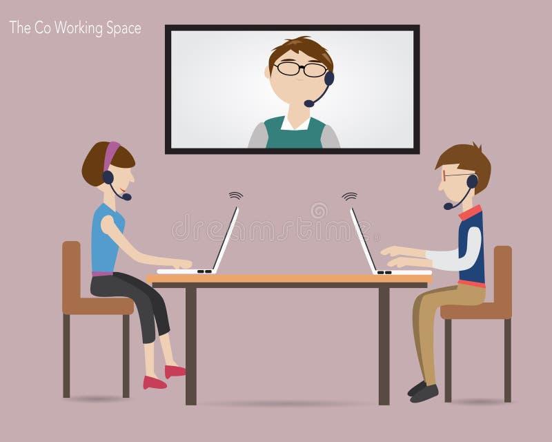 Τρεις άνθρωποι που συναντιούνται στον ομο χώρο εργασίας διανυσματική απεικόνιση