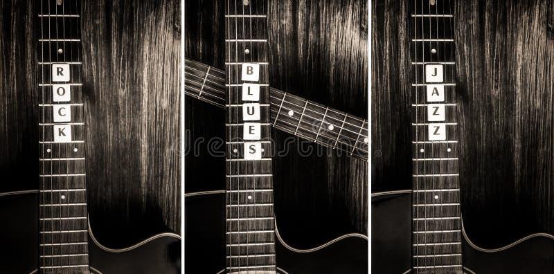 Τρεις ακουστικοί κιθάρες και βράχος σημαδιών, μπλε, τζαζ στοκ φωτογραφίες