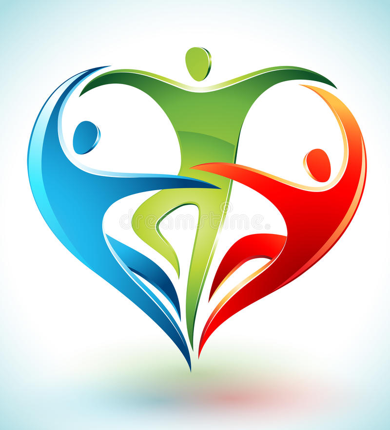 Τρεις αριθμοί που χορεύουν σε μια μορφή μιας καρδιάς απεικόνιση αποθεμάτων