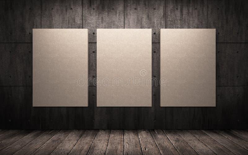 Τρεις αφίσες που κρεμούν στον τοίχο στο βιομηχανικό εσωτερικό Χλεύη επάνω στοκ εικόνες
