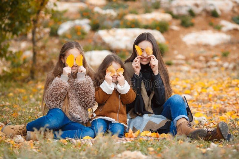 Τρεις αδελφές στον περίπατο στο πάρκο φθινοπώρου στοκ εικόνα με δικαίωμα ελεύθερης χρήσης