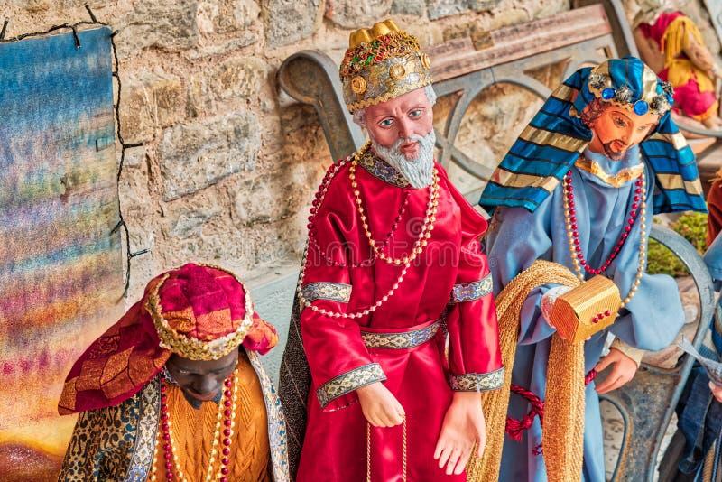 Τρεις βασιλιάδες στη σκηνή Nativity Χριστουγέννων στοκ φωτογραφίες