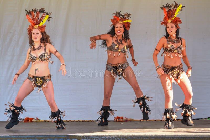 Τρεις βραζιλιάνοι χορευτές samba που δίνουν μια ζωηρή απόδοση στοκ εικόνες με δικαίωμα ελεύθερης χρήσης