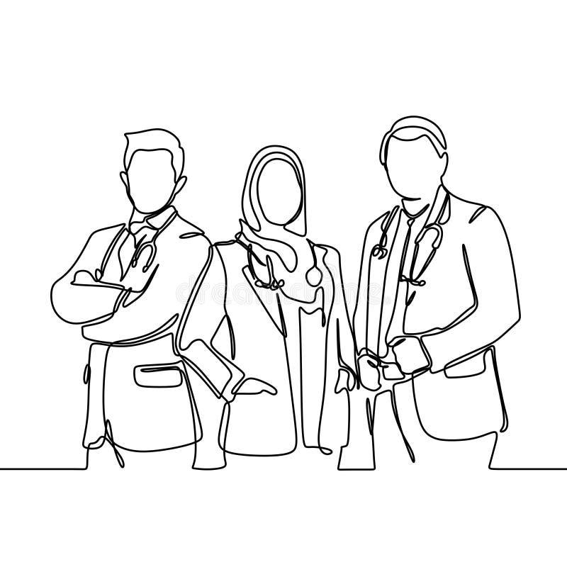 Τρεις γιατροί ένα συνεχές σχέδιο γραμμών που στέκεται με τα ιατρικά εργαλεία που απομονώνονται στο άσπρο υπόβαθρο απεικόνιση αποθεμάτων