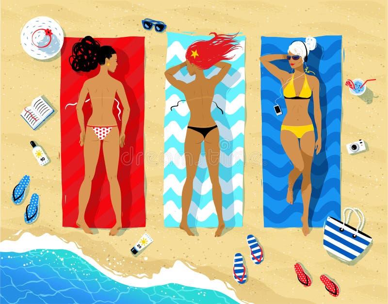 Τρεις γυναίκες που βρίσκονται στην παραλία απεικόνιση αποθεμάτων