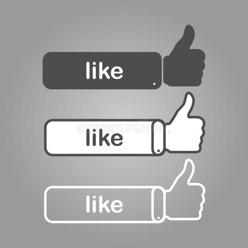 τρεις διαφορετικοί αντίχειρες συμπαθούν επάνω με το γράψιμο διανυσματική απεικόνιση