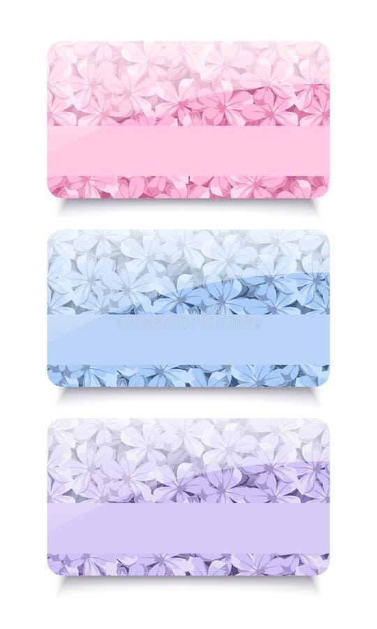 Τρεις επαγγελματικές κάρτες με τα floral σχέδια. Διάνυσμα. διανυσματική απεικόνιση