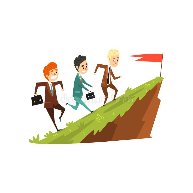 Τρεις επιχειρηματίες που τρέχουν μαζί στο βουνό στη σημαία, ηγέτης που τρέχει μπροστά, επιχείρηση, έννοια ανάπτυξης σταδιοδρομίας διανυσματική απεικόνιση