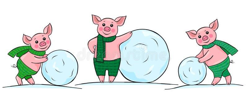 Τρεις ευτυχείς μικροί χοίροι που κυλούν τις χιονιές απεικόνιση αποθεμάτων