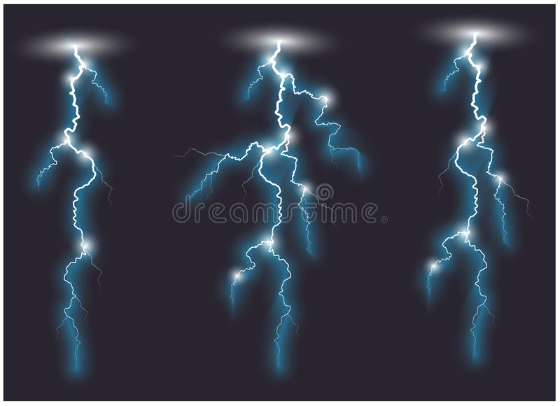 Τρεις διανυσματικές μπλε πλάγιες γραμμές αστραπής ελεύθερη απεικόνιση δικαιώματος