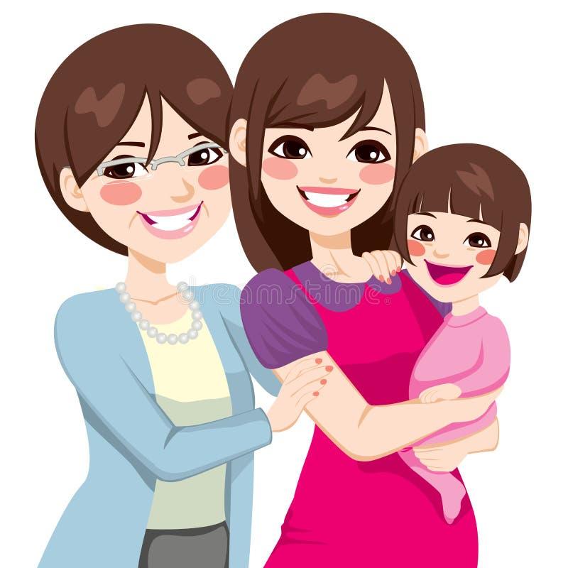 Τρεις ιαπωνικές γυναίκες γενεάς απεικόνιση αποθεμάτων