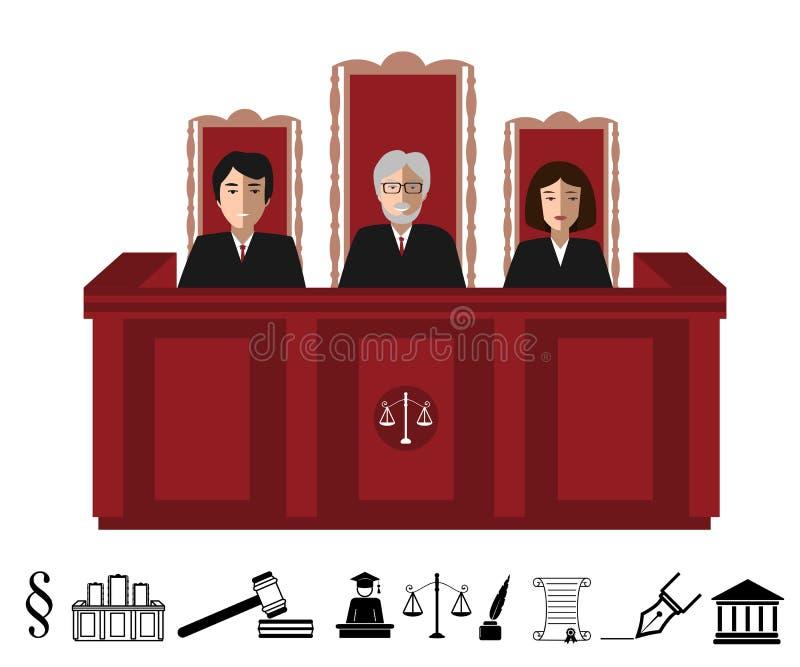 Τρεις δικαστές που κάθονται στο δικαστήριο Απεικόνιση δικαιοσύνης με τα γραπτά εικονίδια judgeship καθορισμένα διανυσματική απεικόνιση
